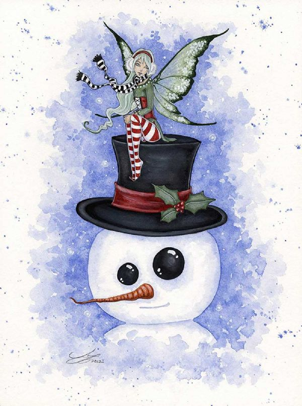 AMY BROWN Fantasy Christmas Card Frosty Friends